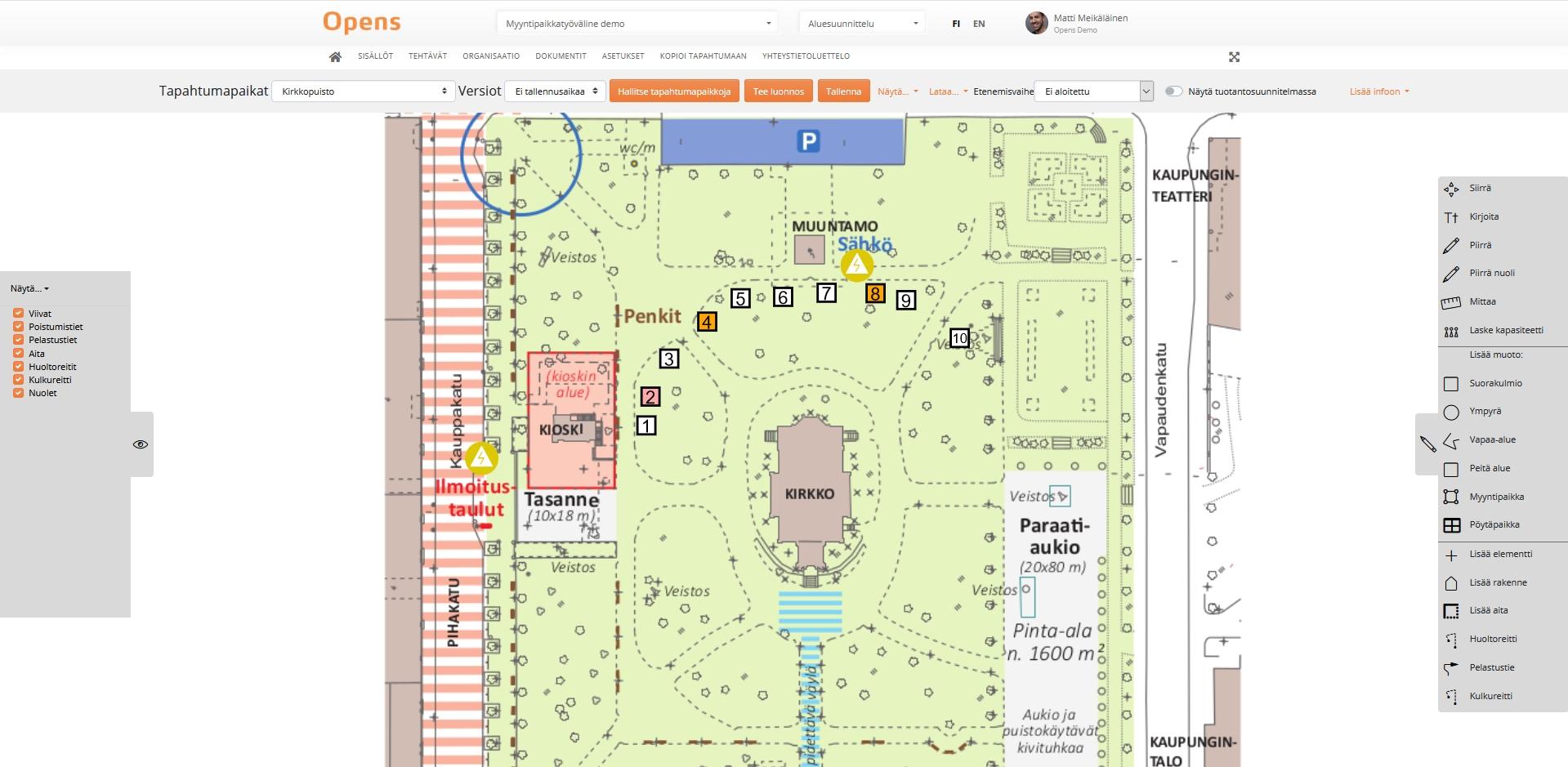 Myyntipaikkojen tekeminen Opensin alue-editorilla: Varaustilanne näkyy suoraan pohjakuvasta.